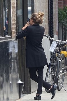 Olsens Anonymous Blog Mary Kate Olsen Messy Top Knot Long Blazer Smoke Break View From Behind photo Olsens-Anonymous-Blog-Mary-Kate-Olsen-Me...