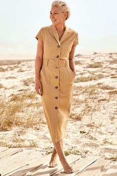 Womens Next Camel Emma Willis Belted Shirt Dress - Natural Beige Dress Outfit, Beige Dresses, Belted Shirt Dress, Minimal Dress, Emma Willis, Safari Dress, Fashion Catalogue, Western Outfits, Fashion 2020