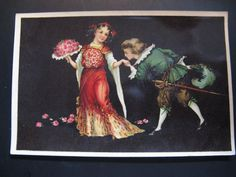 2 x Antique Color Postcard 1908 little boy and girl with flowers...romantic!