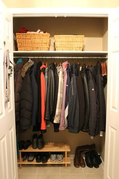Organizing the front hall closet.  I like the idea of a wooden shoe rack (IKEA) and then the baskets up above for small items (since ours are thrown all over the place!)