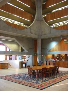 Phillips Exeter Academy Library (officially the Class of 1945 Library), designed by Louis Kahn, 1965-1972, Exeter, New Hampshire, USA ... largest secondary school library in the world with collection of at least 160,000 volumes on nine levels and a shelf capacity of 250,000 volumes
