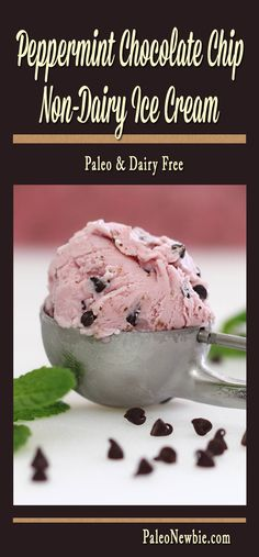 "Chase away the winter blues with this delicious pink peppermint and chocolate chip ""ice-cream."" Quick and easy recipe!"