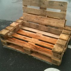Pallet chair/sofa.With some pillows and paint it could work!