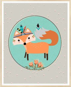 Fox Print Nursery art Woodland nursery Tribal by LeelaPrintableArt #nursery #printable
