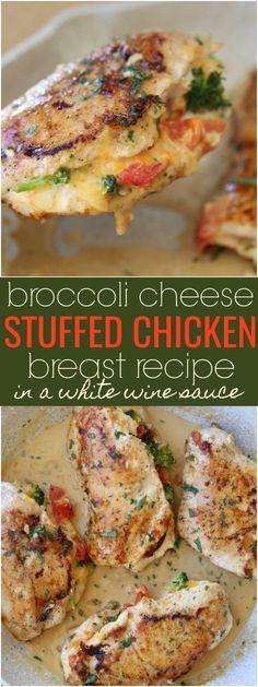 Broccoli Cheese Stuffed Chicken Breast Recipe in a White Wine Sauce.