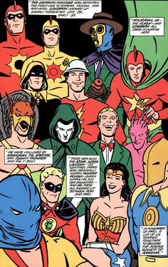 Justice Society of America golden age roster art by Cliff Chiang