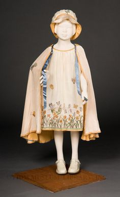 Girl's embroidered silk ensemble (dress, hat, cape), by Daisy Stanford, c. 1924-26. CUTE