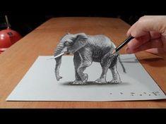 3D-Zeichnung Elefanten, wie man 3D Elefanten auf Papier zu zeichnen - YouTube