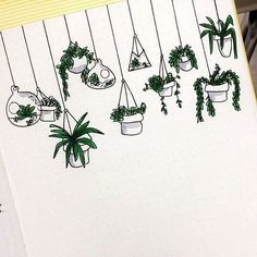 Cute easy-to-draw hanging plant doodles. I'm adding these to my bullet journal planner! Doodle Drawings, Easy Drawings, Pencil Drawings, Bujo Doodles, Easy Doodles, Sketch Note, Journal Entries, Bullet Journal Inspiration, Journal Ideas