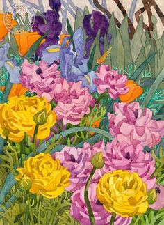 Easter Bouquet, 1993, California art by Carolyn Lord. HD giclee art prints for sale at CaliforniaWatercolor.com - original California paintings, & premium giclee prints for sale