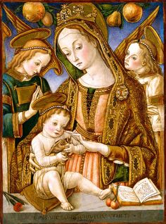 Carlo Crivelli (1435-1495) | Madonna and child with two angels & goldfinch.