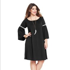 HP 9/26/15 Plus-Sized Peasant Dress! THIS LISTING IS FOR THE BLACK DRESS ONLY.  Polyester/Rayon/Spandex; machine washable; scoop neckline; pullover; three quarter bell sleeves with crochet insets; shift silhouette; unlined; hits at knee.  Super cute and comfy!! Dresses