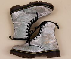 90s  Doc Dr Marten VELVEt Lace Up Combat Ankle Boot/ by nanometer, $182.00