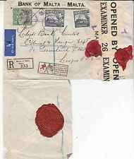 Malta 1941 Rare registered Air Mail used in the Siege of Malta with Censor label