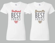 Redhead and Brunette Friends Girl BFFS T-shirts