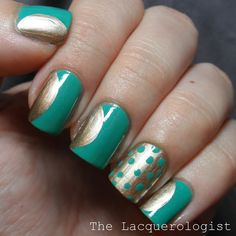 The Lacquerologist: Transition Your Summer Shades to Autumn with Antique Gold: A Nail Art Manicure!