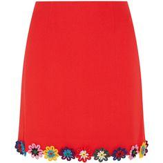 Mary Katrantzou Clovis floral-appliquéd wool-crepe mini skirt ($700) ❤ liked on Polyvore featuring skirts, mini skirts, red, mini skirt, red floral skirt, wool skirt, red a line skirt and red mini skirt