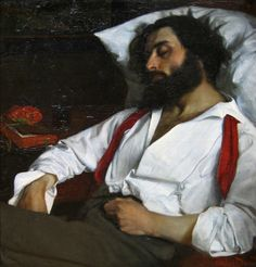 "Carolus Duran:  L'homme endormi (Man asleep). Oil on canvas. ""Love this painting, with strong contrasting palette."""
