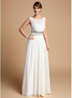 A-Line/Princess Scoop Neck Floor-Length Chiffon Mother of the Bride Dress With Ruffle Beading (008014713) - JenJenHouse