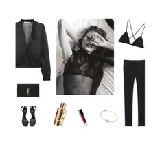 """""""/"""" by darkwood ❤ liked on Polyvore featuring Lounge Lover, IRO, Kiki de Montparnasse, Yves Saint Laurent, Cartier and Chanel"""