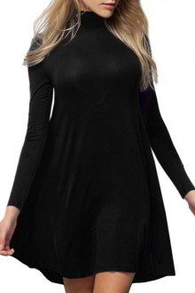 Pure Color Turtle Neck Long Sleeve A Line Dress - I like this. Do you think I should buy it?
