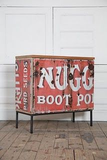 recycle old advertising signs into furniture