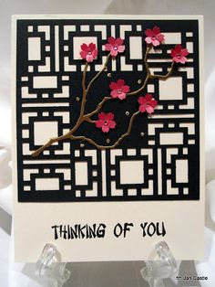 handmade card ... Asian theme ... punch black screen ... die cut cherry branch ... from Creations by Patti: Modern Cube Punched Card
