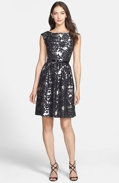 Eliza J Metallic Fit & Flare Dress available at #Nordstrom