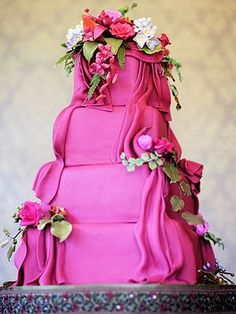 pink cake with flowers by ingrid