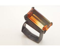 Chris Boland: Ring in oxidised silver set with a citrine