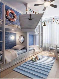 E que tal navegar por mares desconhecidos em uma aventura digna do Popey? O dormitório para dois explora o imaginário com referências do mar e até uma proa de barco instiga os pequenos navegadores. Dica da repórter @virginiamachado !