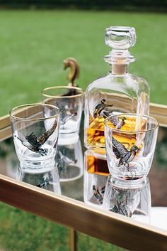 The Garden Party: Toast the outdoors with this glass and decanter set, embellished with waterfowl drawings by the late wildlife artist Richard E. Bishop. (Photo Credit: Corbin Gurkin) #gardenandgun #happyhour