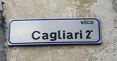 Street name board, Mandas, Sardinia, Italy
