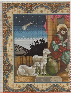 Cross-stitch Nativity, part 1.. (color chart on part 2):