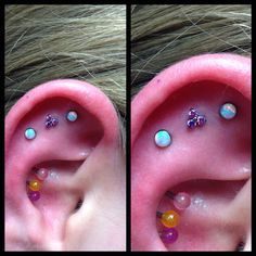 Triple outer conch piercing by yours truly with white opal - and amethyst Trinity ends from NeoMetal