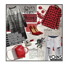 """""""Casual but stylish"""" by ina-kis ❤ liked on Polyvore featuring StreetStyle, red, casualoutfit and grey"""