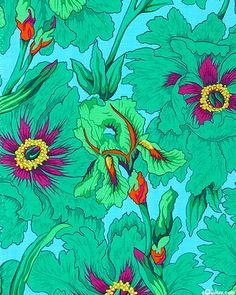 eQuilter Iris and Peony - Azure Blue QUÉ BELLO DISEÑO. UN TOQUE DE INTENSO COLOR AÚN EN OTOÑO