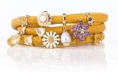 Endless Jewelry yellow leather with charms