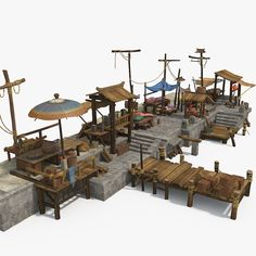 Marketplace available in MAX, arabian architectural asian bazaar, ready for animation and other projects Fantasy Town, Fantasy Map, Medieval Fantasy, Fantasy World, Minecraft Designs, Minecraft Projects, Building Concept, Building Design, Planet Coaster