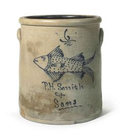 Six Gallon Straight-sided Stoneware Crock with Fish Decoration in Cobalt Blue . Antique Crocks, Old Crocks, Primitive Antiques, Primitive Furniture, Glazes For Pottery, Ceramic Pottery, Pottery Art, Ceramic Art, Glazed Pottery