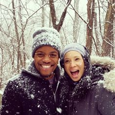 Lucy Liu and Jon Michael Hill (behind the scenes of Elementary)