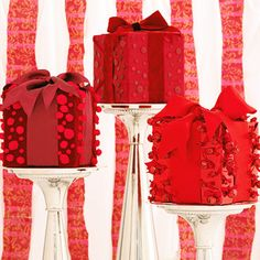 Dress up your table with this easy Holiday Gifts Centerpiece! More centerpiece ideas: http://www.bhg.com/christmas/crafts/easy-to-make-christmas-centerpieces/?socsrc=bhgpin112413holidaygiftscenterpiece&page=7
