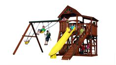 Olympian Treehouse 2 Play set shown with: Lower Cottage, Sundeck, 3 Position Super Single Beam, Belt Swing, Toddler Bucket, Trapeze Bar, 12' Rocket Slide, Gang Plank and Binoculars!
