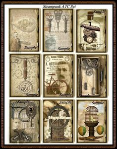 Alteración Junque arte STEAMPUNK ATC Set descarga inmediata