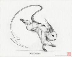 Raichu 8 x 10 print pokemon drawing art by RockyHammerEtsy