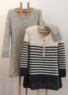 To sider af samme sag - Hyggestrik Hand Knitted Sweaters, Sweater Knitting Patterns, Fair Isle Knitting, Knit Fashion, Striped Knit, Pulls, Knit Dress, Knitwear, Knit Crochet