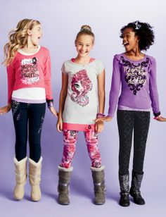 Ever After High Clothes Available At Justice Little Fashion, Kids Fashion, Queen Of Nothing, Kids Outfits, Cute Outfits, Themed Rooms, Ever After High, Leggings, Friends Fashion