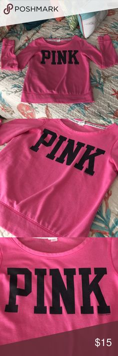PINK VS sweatshirt PINK sweat shirt in good condition, shows normal signs of being washed. 💗 size S PINK Victoria's Secret Sweaters