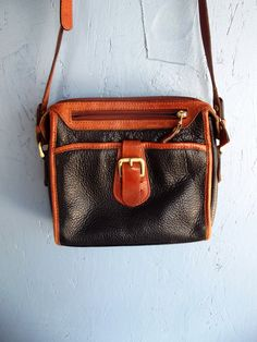 Equestrian Two Tone Leather Vintage Cross Body Bag