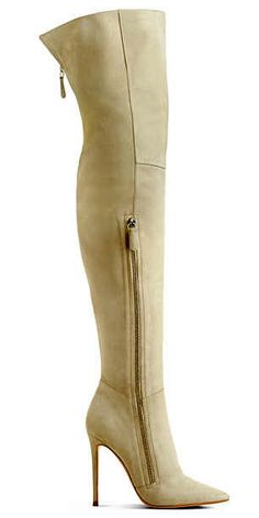 Gianvito Rossi Nude Suede Silver Zipper Thigh High Boots Fall 2013 #Heels #Shoes